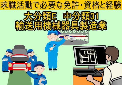 中分類31 輸送用機械器具製造業の就職に必要な免許と資格と経験