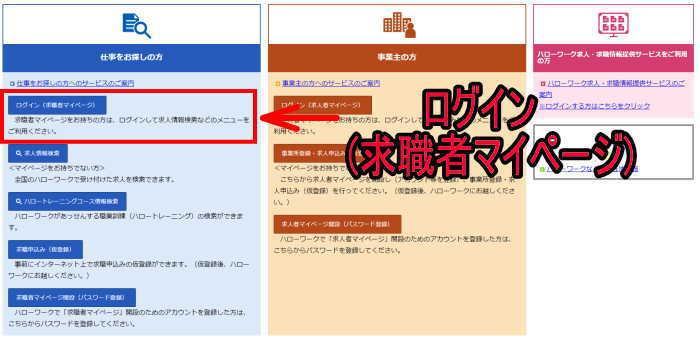 ハローワークインターネットサービス トップ画面のログイン(マイページ)