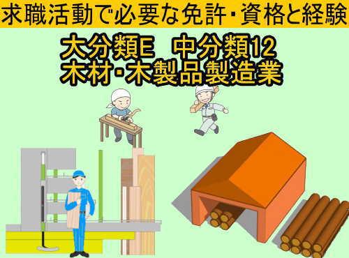 中分類12の木材・木製品製造業(家具を除く)の就職に必要な免許と資格と経験