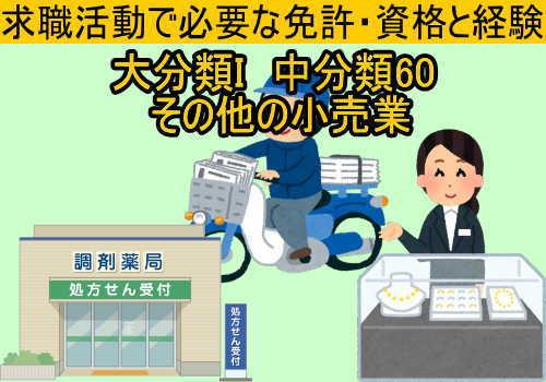 中分類60 その他の小売業の就職に必要な免許と資格と経験