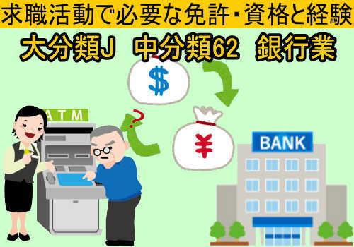 中分類62 銀行業の就職に必要な免許と資格と経験