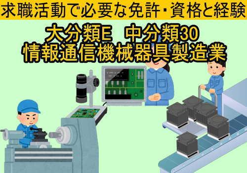 中分類30 情報通信機械器具製造業の就職に必要な免許と資格と経験2