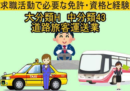 中分類43 道路旅客運送業の求職活動で必要な免許・資格と経験