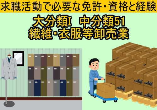 中分類51繊維・衣服等卸売業に必要な免許と資格と経験