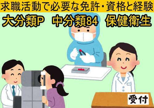 中分類84 保健衛生の就職に必要な免許と資格と経験