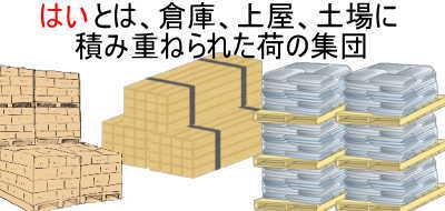 はいとは、倉庫、上屋又は土場に積み重ねられた荷の集団のこと