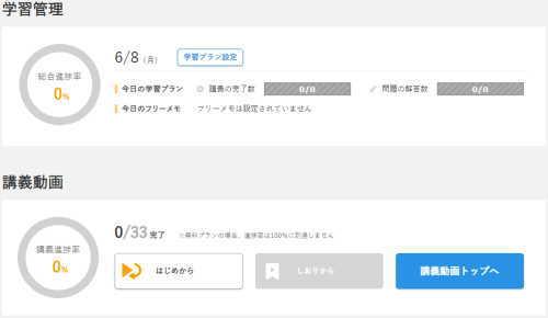 資格取得オンスク.jp学習進歩状況
