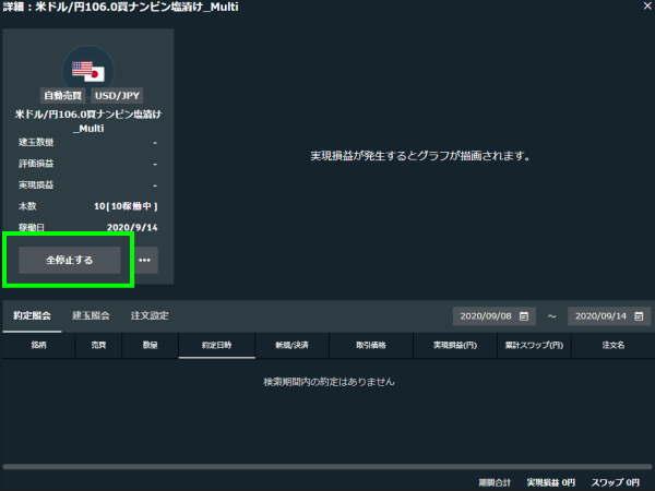トライオートFXトップ画面で注文の全停止